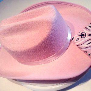 Cowgirl Felt Pink Hat w/bandanna